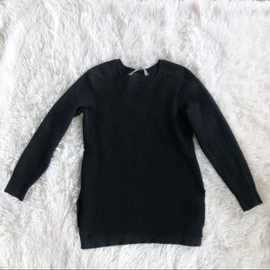 Athleta Wool Bland Black Split Hem Sweater